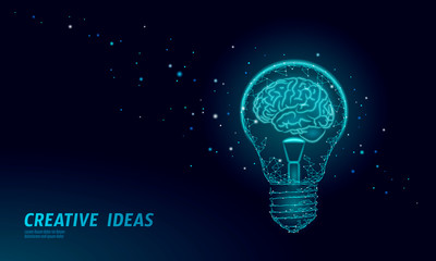 Human brain IQ smart business concept. E-learning nootropic drug supplement braingpower. Brainstorm creative idea project work low poly polygonal vector illustration