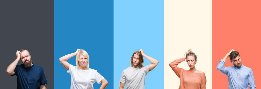 Collage of casual young people over colorful stripes isolated background confuse and wonder about question. Uncertain with doubt, thinking with hand on head. Pensive concept.