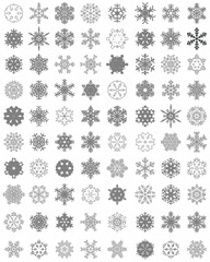 Set of different gray snowflakes on a white background