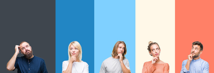 Collage of casual young people over colorful stripes isolated background with hand on chin thinking about question, pensive expression. Smiling with thoughtful face. Doubt concept.