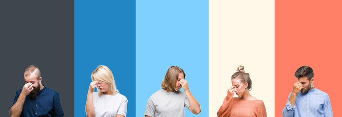 Collage of casual young people over colorful stripes isolated background tired rubbing nose and eyes feeling fatigue and headache. Stress and frustration concept.