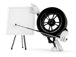 Car wheel character with blank whiteboard