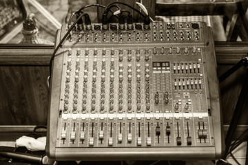 Digital Sound Mixer. Stage controller with sliders.