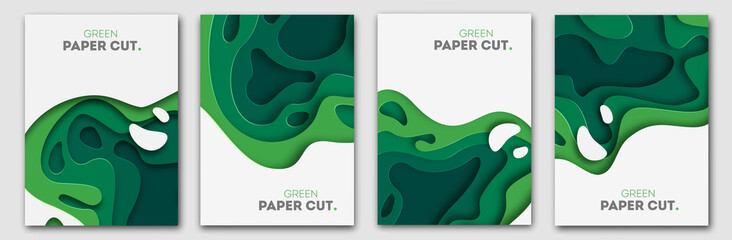 Banners set 3D abstract background, green paper cut shapes. Vector design layout for business presentations, flyers, posters and invitations. Carving art, environment and ecology elements Wall mural