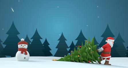 3D Illustration Weihnachtsmann mit Weihnachtsbaum und Schneemann