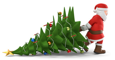 3D Illustration Weihnachtsmann mit Weihnachtsbaum