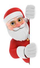 3D Illustration Weihnachtsmann weiße Fläche seitlich