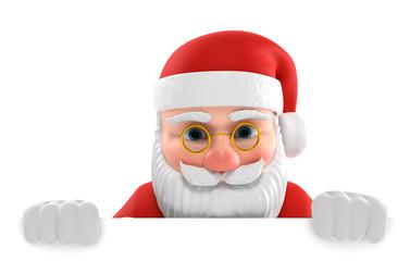 3D Illustration Weihnachtsmann weiße Fläche unten