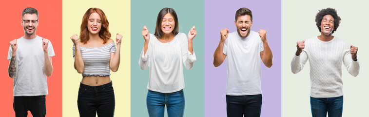 Composition of african american, hispanic and chinese group of people over vintage color background excited for success with arms raised celebrating victory smiling. Winner concept.