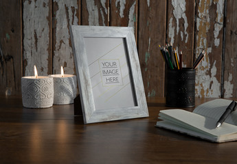 Patterned Frame on Wooden Table Mockup