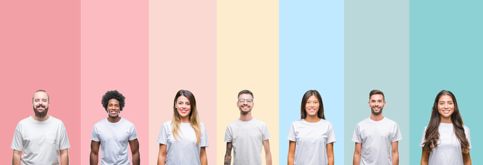 Collage of different ethnics young people wearing white t-shirt over colorful isolated background with a happy and cool smile on face. Lucky person. Wall mural