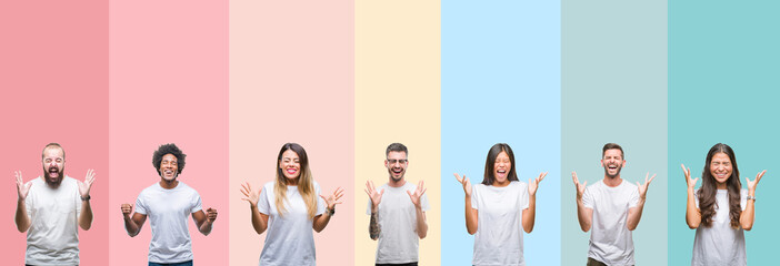 Collage of different ethnics young people wearing white t-shirt over colorful isolated background celebrating mad and crazy for success with arms raised and closed eyes screaming excited