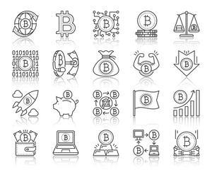 Bitcoin simple black line icons vector set