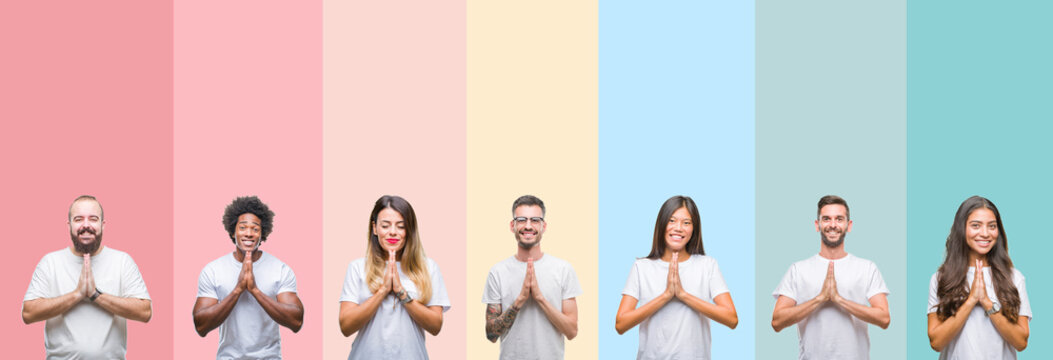 Collage of different ethnics young people wearing white t-shirt over colorful isolated background praying with hands together asking for forgiveness smiling confident.