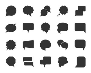Speech Bubble black silhouette icons vector set
