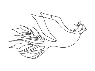 Phoenix fairy bird for coloring book