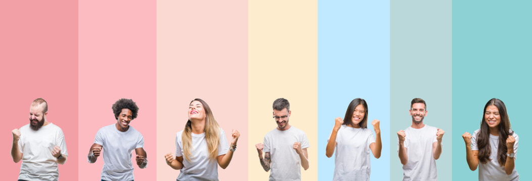 Collage of different ethnics young people wearing white t-shirt over colorful isolated background very happy and excited doing winner gesture with arms raised, smiling and screaming for success