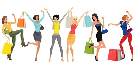 Obraz Campaign women shopping - fototapety do salonu