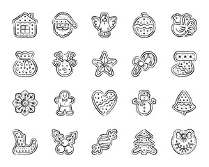 Christmas Gingerbread charcoal draw line icons vector set