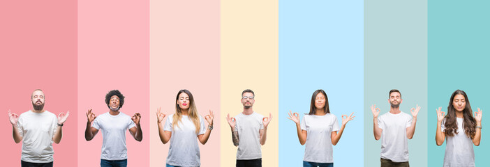 Collage of different ethnics young people wearing white t-shirt over colorful isolated background relax and smiling with eyes closed doing meditation gesture with fingers. Yoga concept.