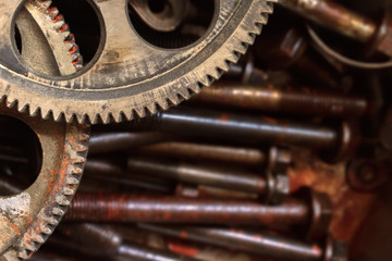 Mechanic picture. Close-up cogs of cam sharp gear with rust and dusty textured. Unused parts from car engine put on group of old bolts and nuts background. Selective focus and copy space
