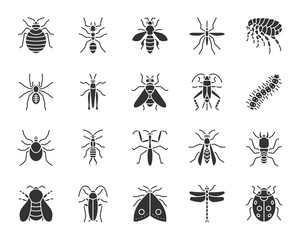 Danger Insect black silhouette icons vector set