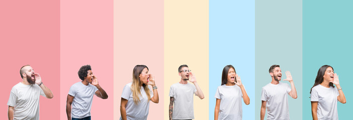 Collage of different ethnics young people wearing white t-shirt over colorful isolated background shouting and screaming loud to side with hand on mouth. Communication concept.