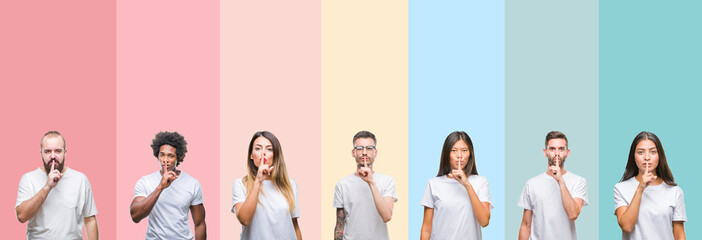 Collage of different ethnics young people wearing white t-shirt over colorful isolated background asking to be quiet with finger on lips. Silence and secret concept.