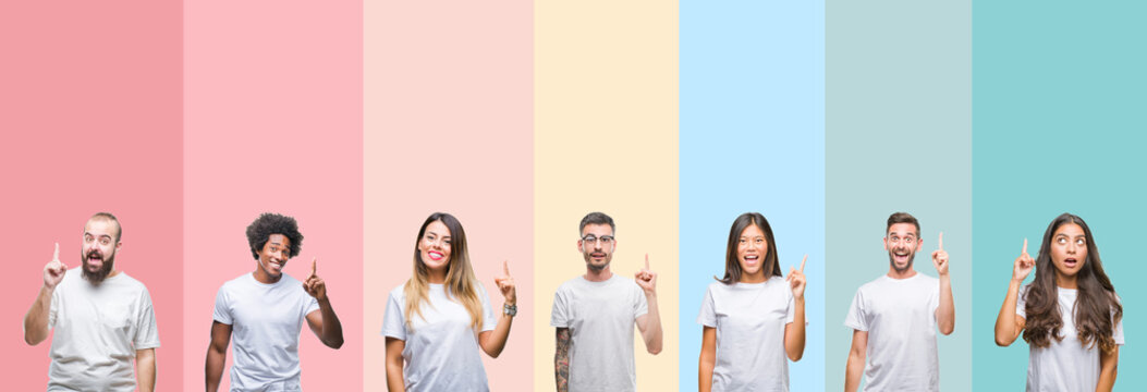 Collage of different ethnics young people wearing white t-shirt over colorful isolated background pointing finger up with successful idea. Exited and happy. Number one.