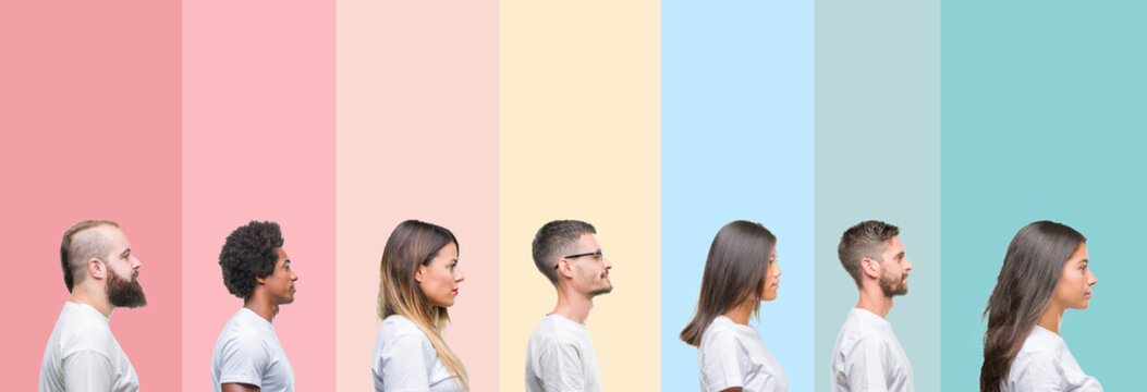 Collage of different ethnics young people wearing white t-shirt over colorful isolated background looking to side, relax profile pose with natural face with confident smile.