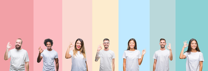 Collage of different ethnics young people wearing white t-shirt over colorful isolated background smiling positive doing ok sign with hand and fingers. Successful expression. Wall mural