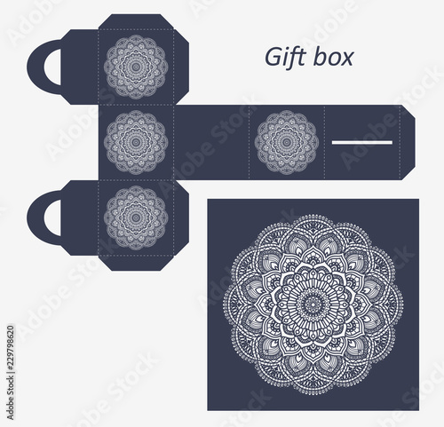 openwork gift paper box with a handle lace pattern assembly