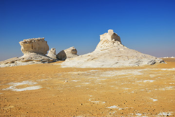 Wall Mural - The limestone formation in White desert. Sahara. Egypt