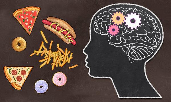 Addiction and Brain Activity illustrated on Brown Blackboard