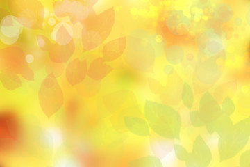 Abstract autumn gradient yellow green bright background texture with leaves and bokeh circles. Space. Card design. Wall mural