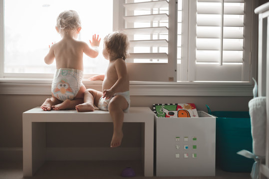 Two toddlers look out a window