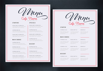 Cafe Menu Layout with Red Accents