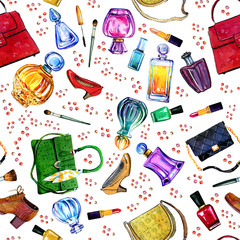 Hand drawn watercolor seamless pattern with female bags, perfumes, shoes and cosmetics