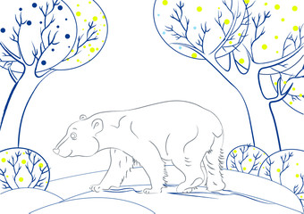 Polar bear on winter background. Coloring book.