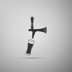 Beer tap with glass icon isolated on grey background. Flat design. Vector Illustration