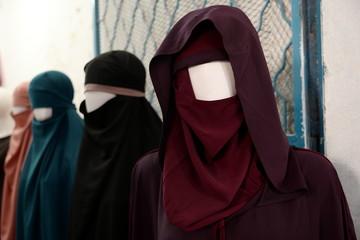 Muslim hijab on plastic models