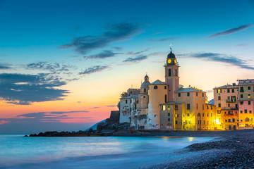 Sunset on the sea, Camogli, Liguria, Italy Fototapete