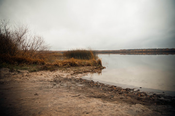 view of the lake on a rainy autumn day.outdoor