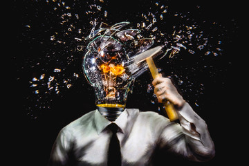 Surreal illustration. Man with lamp head shattering his own lamp, concept of self sabotage.