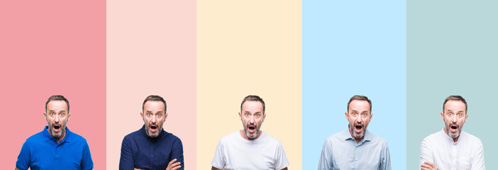 Collage of senior hoary handsome man over colorful stripes isolated background afraid and shocked with surprise expression, fear and excited face.