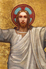 Fototapete - PRAGUE, CZECH REPUBLIC - OCTOBER 13, 2018: The detail of fresco of Ascension of Jesus in side apse of church kostel Svatého Václava by S. G. Rudl (1900).