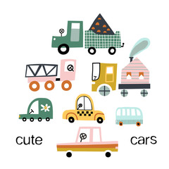 Cute toy cars. Different cars - truck, taxi, bus, eco car.