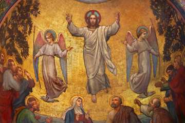 Wall Mural - PRAGUE, CZECH REPUBLIC - OCTOBER 13, 2018: The fresco of Ascension of Jesus in side apse of church kostel Svatého Václava by S. G. Rudl (1900).