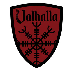 The ancient European esoteric sign - the Helm of Awe, inscription Valhalla and Heraldic shield