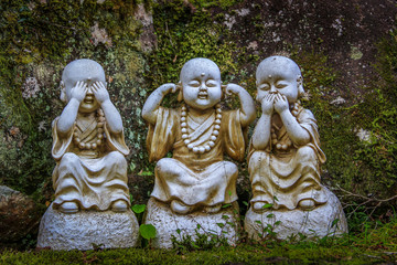 Buddha statues on Miyajima Island, near Hiroshima, Japan.
